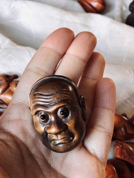 PIECE UNIQUE - Ancien netsuke double face - masques théâtre Noh #2