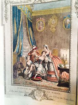Gravure aquarellée 19ème Le Couché De La Mariée.