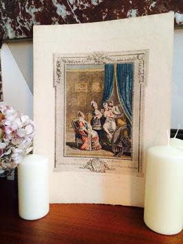 Gravure aquarellée Le Levée De La Mariée