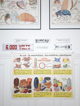 Affiche scolaire MDI Le cuir, caoutchouc, plastique / Le pétrole et l'essence