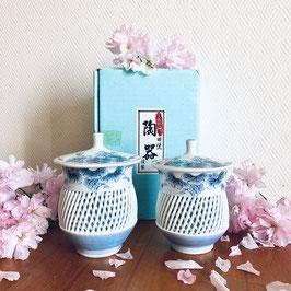 Tasses à thé vintage porcelaine ajourée d'Arita