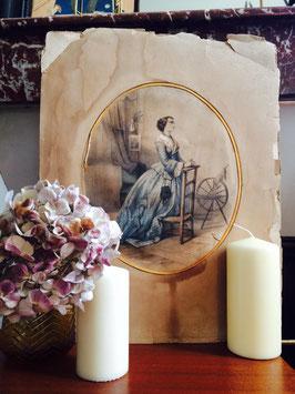 Litographie aquarellée Emile Desmaisons femme prie-dieu