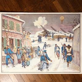 Affiche scolaire Le siège de Paris en 1870 / L'évacuation de l'Alsace en 1870