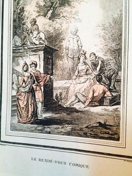 Gravure aquarellée intitullée Le Rendé-vous, Comique