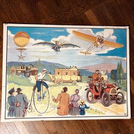 Ancienne affiche scolaire L'histoire de l'automobile et de l'aviation /  La conquête de Tonkin /