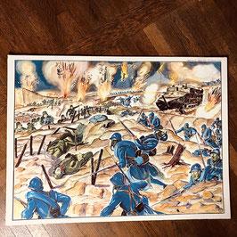 Affiche scolaire Clémenceau et Foch dans les tranchées / Verdun 1917 - Les nouvelles armes