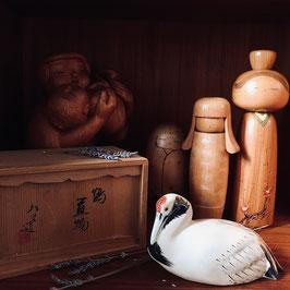 PIECE UNIQUE - Grand okimono céramique de Kyoto - grue japonaise