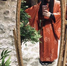 Kimono vintage Tsukesage en soie - rouge