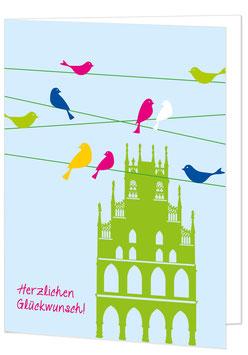Rathaus und Vögel - Herzlichen Glückwunsch