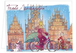 Radfahrerin / Weihnachtshund – Frohe Weihnachten