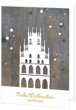 Rathaus auf Holz – Frohe Weihnachten aus Münster