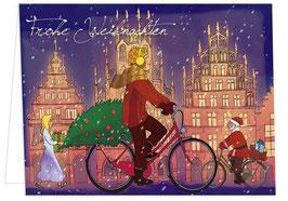Radfahrerin / Weihnachtsengel – Frohe Weihnachten