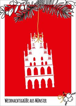 Rathaus auf Rot - Zweig – Weihnachtsgrüße aus Münster