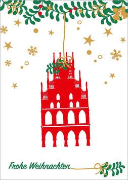 Rathaus - Zweige - Sterne – Frohe Weihnachten