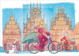Radfahrerin - Weihnachtshund