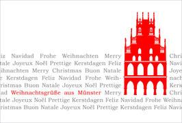 Rathaus auf Text - Weihnachtsgrüße in Münster