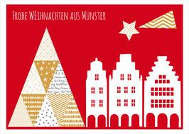 Baum an Lamberti mit Giebel – Frohe Weihnachten aus Münster