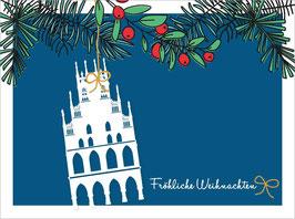 Rathaus - Zweige blau – Fröhliche Weihnachten