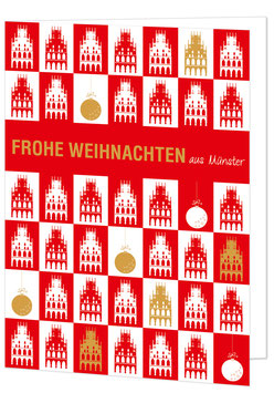 Rathaus gekachelt (rot) – Frohe Weihnachten aus Münster