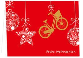 Kugeln und Fahrrad – Frohe Weihnachten