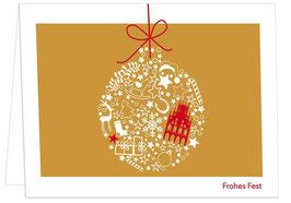 Kugel mit Rathaus auf Gold – Frohes Fest