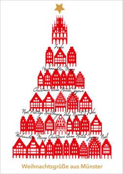Giebelhäuser - Baum – Weihnachtsgrüße aus Münster
