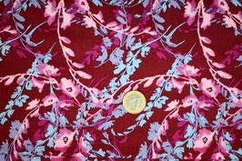 Blumenranken rosé/hellblau auf dunkelrot 326
