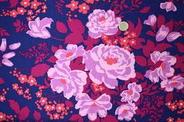 Blumen mauve/violett/rot auf dunkelblau 322
