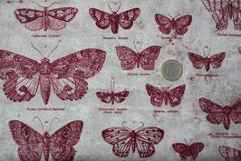 Schmetterlinge - dunkelrot/beige 398