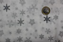 Weiß mit silberglitzernden Schneeflocken 317