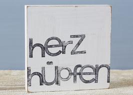 """Textplatte """"herzhüpfen"""" 15x15cm"""