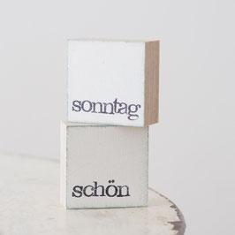 """Mini  Textplatte """"sonntag + schön"""""""