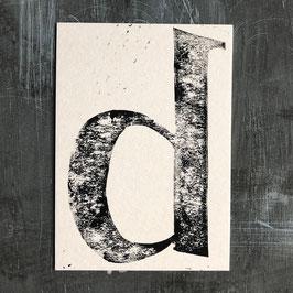 "Original Linoldruck Karte ""d"""