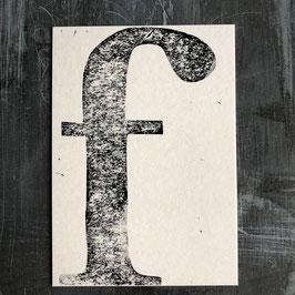 "Original Linoldruck Karte ""f"""