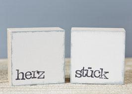 "Mini  Textplatte ""herz + stück"""