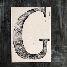 """Original Linoldruck Karte """"G"""""""
