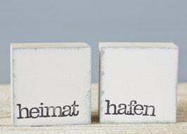 "Mini  Textplatte ""heimat + hafen"""