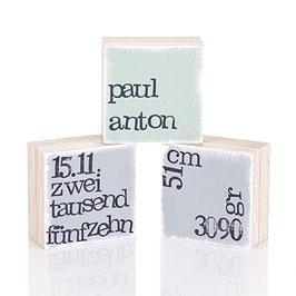 "Mini  Textplatten ""zur Geburt"""