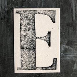 """Original Linoldruck Karte """"E"""""""
