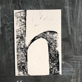 """Original Linoldruck Karte """"h"""""""
