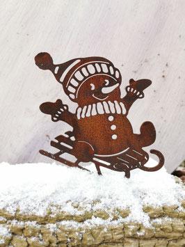 Schneemann mit Schlitten zum Schrauben