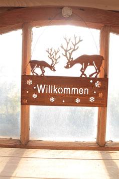 """Schild mit Hirschen """"Willkommen"""""""