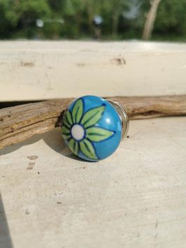 "Blauer Keramikknopf ""Grüne Blume"""