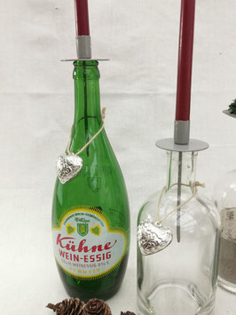 Flaschenstecker für dünne Kerze Grau