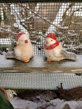 Vogelpärchen im Schnee