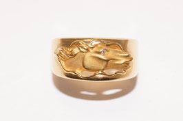 Carrera y Carrera Ring mit Pferdekopf-Motiv und Brillant in 750er Gold