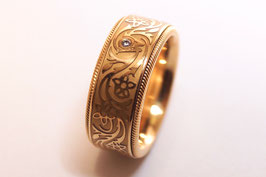 Wellendorff Bandring mit  Brillant  0,02 ct in 750er Gold - Modell Goldblüten - Original Zertifikat