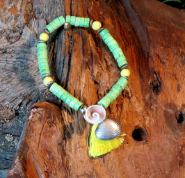 Sommer BOHO LOOK Armband grün Muschel