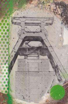 Zeche Zollverein auf Stahl mit Siebdruck