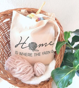 "Stofftasche ""Home is were the yarn is"""
